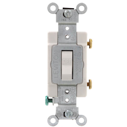 Single-Pole Toggle Light Switch, Commercial Grade, 15A - White (120/277V) Product Image
