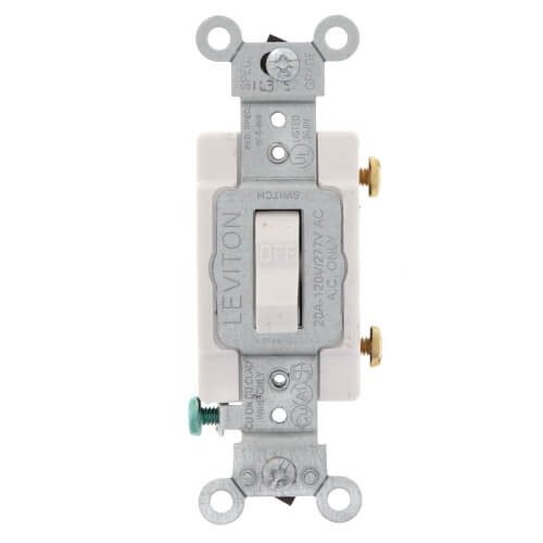 Single-Pole Toggle Light Switch, Commercial Grade, 20A - White (120/277V) Product Image