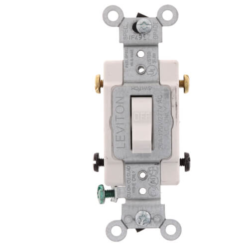 3-Way Toggle Light Switch, Commercial Grade, 20A - White (120/277V) Product Image