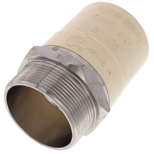 """2"""" CPVC x Male Stainless Steel Adapter (Lead Free) Product Image"""
