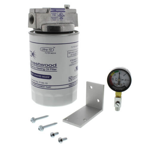 Complete Spin-on Filter w/ Bracket Kit, Bleeder Fitting, and FLi Gauge (Epoxy Inside, 10 Micron) Product Image