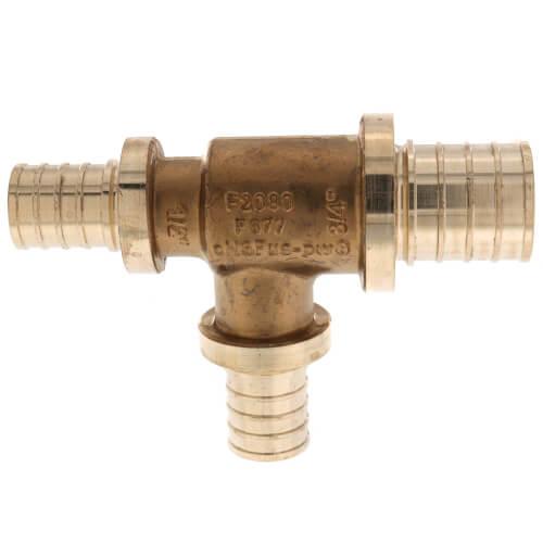 "3/4"" X 1/2"" X 1/2"" F2080 PEX Tee (Lead Free Brass) Product Image"