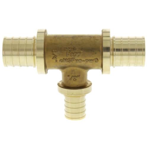 "3/4"" X 3/4"" X 1/2"" F2080 PEX Tee (Lead Free Brass) Product Image"
