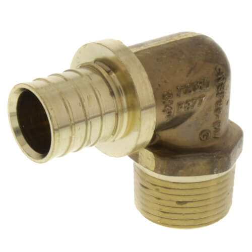"""3/4"""" F2080 PEX Male 90 Elbow (Lead Free Brass) Product Image"""