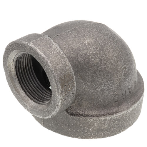"2-1/2"" x 1-1/4"" Black Cast Iron Steam 90° Elbow Product Image"