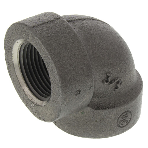 """3/4"""" Black Cast Iron Steam 90° Elbow Product Image"""