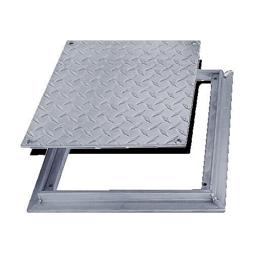 "8"" x 8"" (Frame Opening) FD-8060 Non Hinged: Flush Diamond Plate Floor Door Product Image"