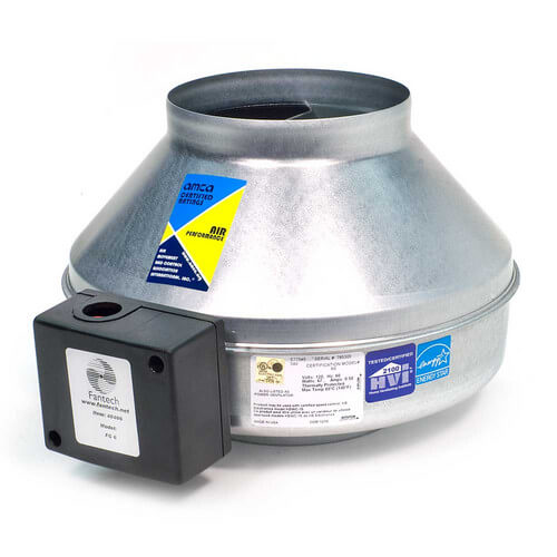 "FG Series Round Inline Exhaust Fan, 4"" Duct, 230V (135 CFM) Product Image"