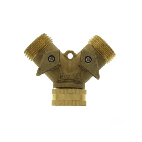 "3/4"" Male Hose x 3/4"" Female Hose Brass Garden Hose Wye w/ Shut Off Product Image"