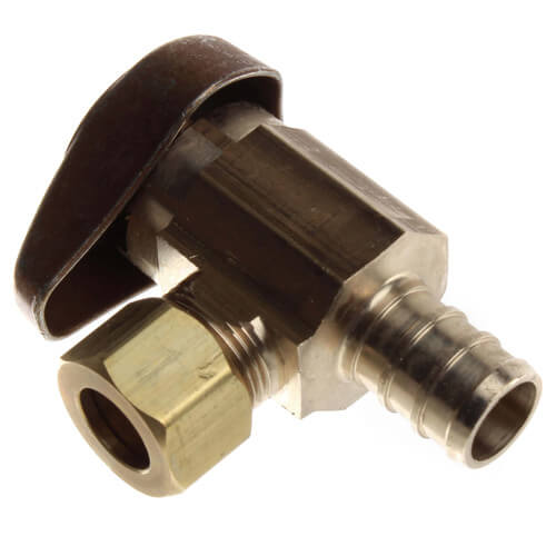 """1/2"""" PEX Crimp x 3/8"""" OD Comp 1/4 Turn Supply Angle Stop (Rough Brass) Product Image"""
