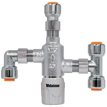 """1/4"""" Push-Fit Chrome Plated Thermostatic Mixing Valve w/ Check Valve and Fittings (Lead Free) Product Image"""