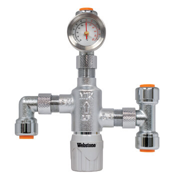 "1/4"" Push-Fit Chrome Plated Thermostatic Mixing Valve w/ Check Valve, Fittings, and Gauge (Lead Free) Product Image"