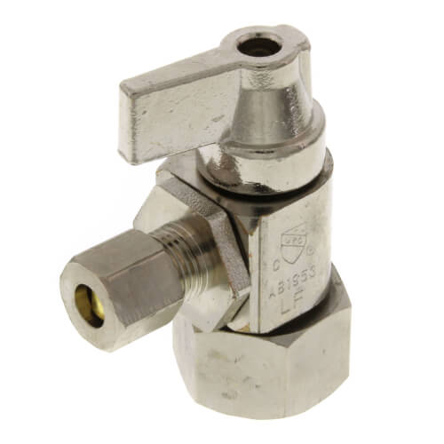 """1/2"""" Hubz x 1/4"""" Compression Angle Supply Stop Ball Valve, Lead Free (Fully Nickel Plated) Product Image"""