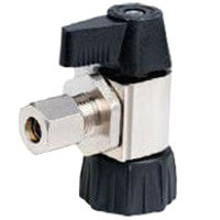 """1/2"""" Hubz x 1/4"""" Compression Angle Supply Stop Ball Valve, Lead Free (Nickel Plated) Product Image"""