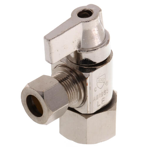 """1/2"""" Hubz x 3/8"""" Compression Angle Supply Stop Ball Valve, Lead Free (Fully Nickel Plated) Product Image"""