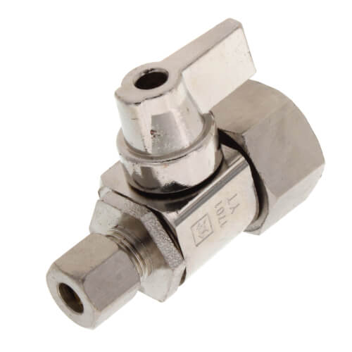 """1/2"""" Hubz x 1/4"""" Compression Straight Supply Stop Ball Valve, Lead Free (Fully Nickel Plated) Product Image"""