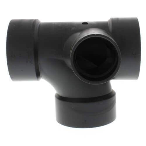 """3"""" x 3"""" x 3"""" x 1-1/2"""" Hub ABS Sanitary Tee with 90° Left Inlet (5871) Product Image"""