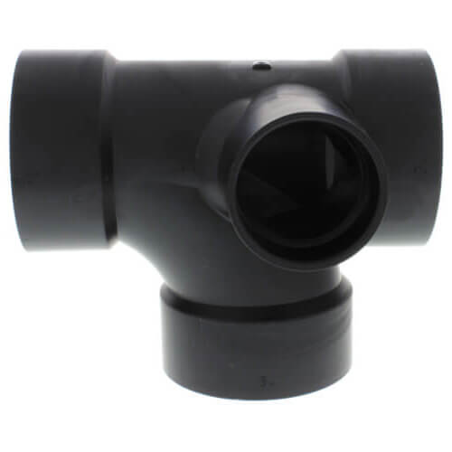 """3"""" x 3"""" x 3"""" x 2"""" Hub ABS Sanitary Tee with 90° Right Inlet (5872) Product Image"""