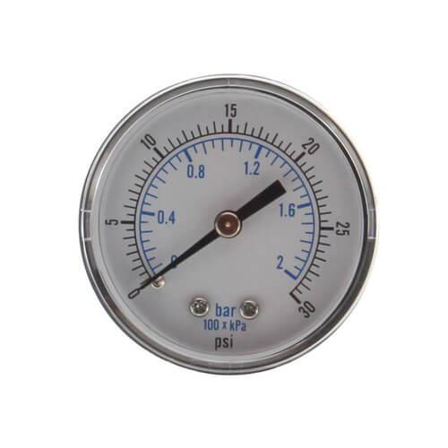 "1/8"" NPT, 2"" Dial Pressure Gauge (0-30 PSI) Product Image"