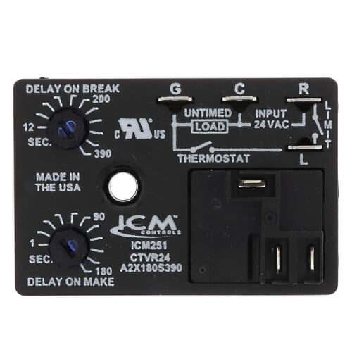 ICM251 Fan Blower Control - Dual On/Off Delay Timer (Adjustable Time Delay) Product Image
