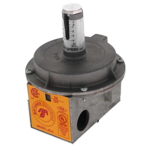 """JD-2 Vacuum/Pressure Switch w/ Auto Reset Air Differential, 5-35"""" W.C. (Orange) Product Image"""