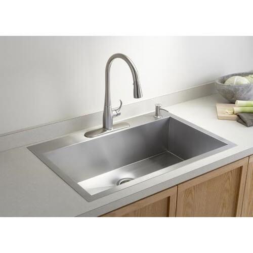 K 3821 4 kohler k 3821 4 vault large single kitchen - Vasca cucina fragranite ...