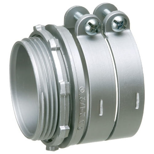 "3-1/2"" Zinc BX-Flex Squeeze Connector with Round End Stop Product Image"