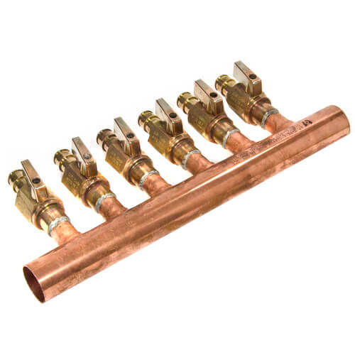 "1"" Copper Manifold w/ LF Brass 1/2"" ProPEX Ball Valve, 6 Outlets (Lead Free Brass) Product Image"