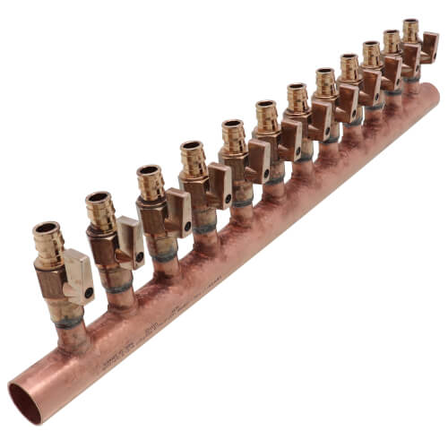"""1"""" Copper Manifold w/ 1/2"""" ProPEX Ball Valve, 12 Outlets (Lead Free Brass) Product Image"""