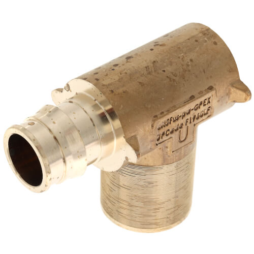 "ProPEX Fire Sprinkler Adapter Elbow, 3/4"" PEX x 1/2"" FNPT (Lead Free Brass) Product Image"