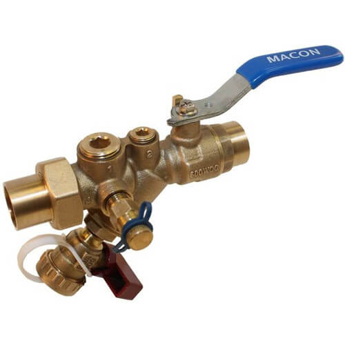 "1"" FNPT SV Combination Union, Wye Strainer & Balancing Ball Valve with 1/2"" Bypass Port Product Image"