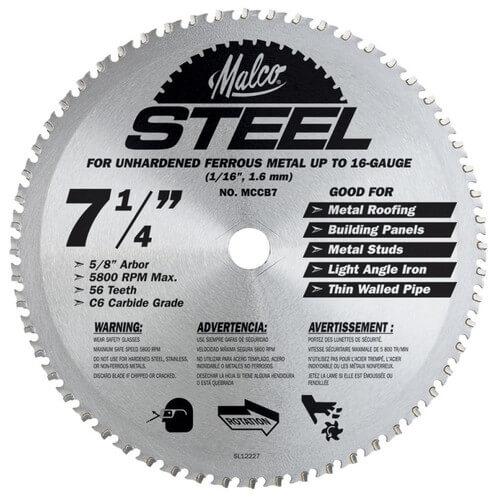"7-1/4"" Steel Cutting Circular Saw Blade Product Image"