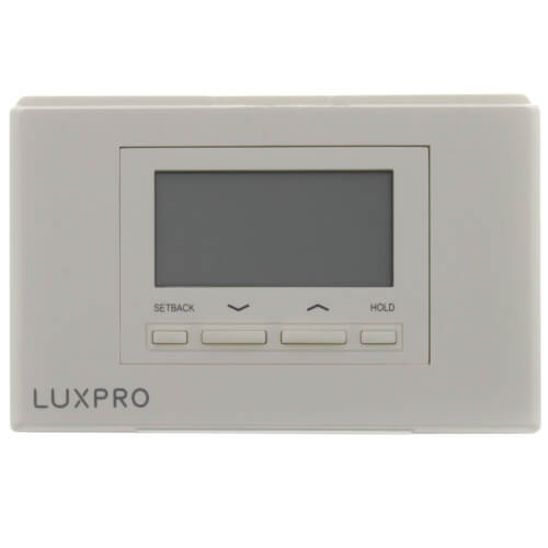 LuxPro Programmable Thermostat 5/1/1 Programming (2 Heat - 1 Cool) on 2 stage heat pump thermostat wiring, nordyne thermostat wiring, aprilaire thermostat wiring, wax thermostatic element, dual thermostat wiring, payne thermostat wiring, cooling thermostat wiring, robertshaw thermostat wiring, lennox thermostat wiring, venstar thermostat wiring, basic thermostat wiring, home thermostat wiring, american standard thermostat wiring, temperature control, coleman thermostat wiring, digital thermostat wiring, ge thermostat wiring, ac thermostat wiring, taco thermostat wiring, thermostatic mixing valve, heating thermostat wiring, totaline thermostat wiring,