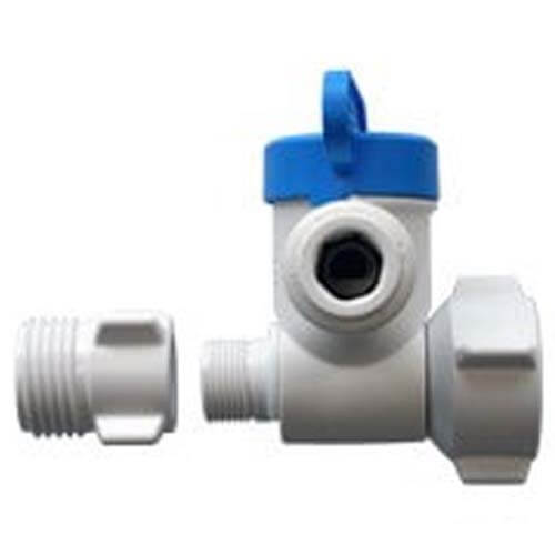 """1/2"""" NPS x 3/8"""" Female Compression x 1/4"""" OD Angle Stop Adapter Valve (Conversion Thread) Product Image"""