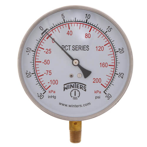 """4.5"""" PCT Contractor Pressure Gauge (30""""Hg-0-30 PSI) Product Image"""