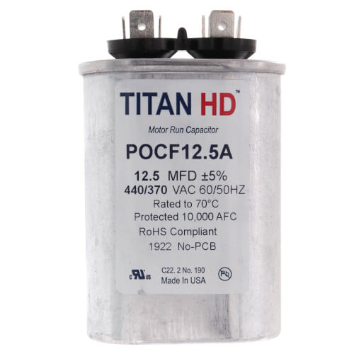 12.5 MFD Oval Motor Run Capacitor (440/370V) Product Image