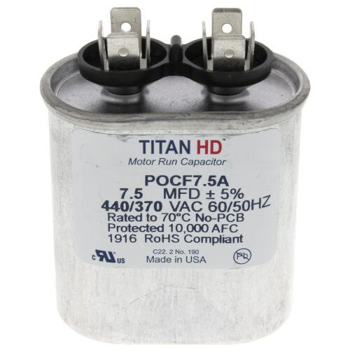 Titan HD POCF7.5A 440//370VAC 7.5MFD Motor Run Capacitor Oval