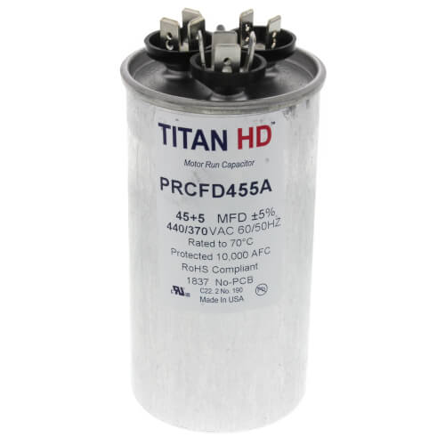 45/5 MFD Round Dual Motor Run Capacitor (440/370V) Product Image