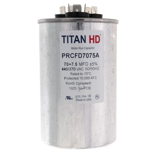 TITAN HD PRCFD7075A Motor Dual Run Cap,70//7.5 MFD,440V,Round