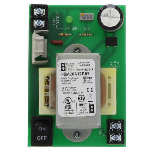 """4"""" & 2.75"""" Track Mount Isolated Linear DC Power Supply, 300mA Adjustable Output, 24 Vac to 1.5Vdc-12Vdc Product Image"""