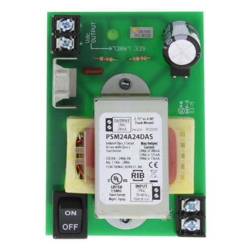 """4""""/2.75"""" Track Mount Isolated Linear DC Power Supply, 24 Vac to 1.5-28 Vdc Product Image"""