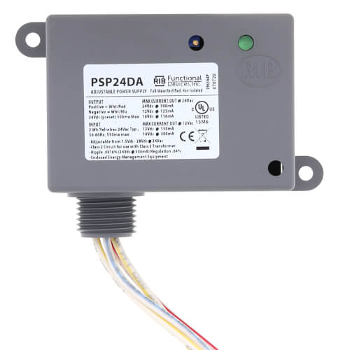Enclosed Non-Isolated Linear DC Power Supply, Adjustable Output, 24 Vac to 1.5-28 Vdc Product Image