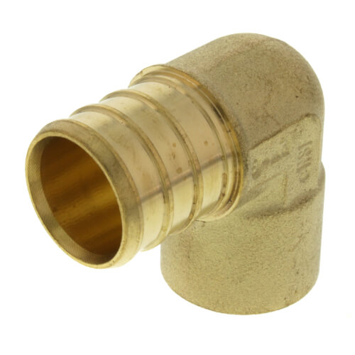 """3/4"""" PEX x 1/2"""" Copper Pipe Brass Elbow (Lead Free) Product Image"""
