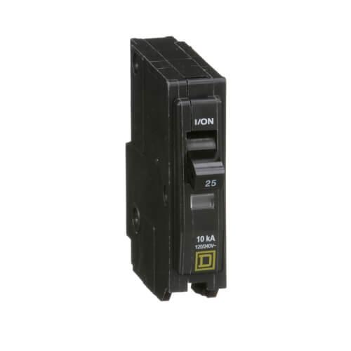 QO Single Pole Standard Miniature Circuit Breaker (120/240V AC, 25A, 10 kA) Product Image