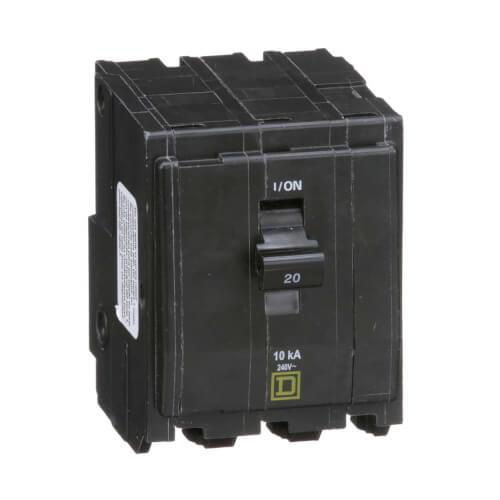 QO 3 Pole Miniature Circuit Breaker (120/240V, 20A, 10kA) Product Image