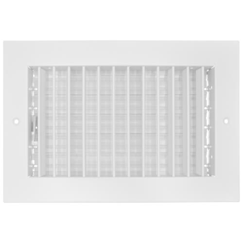 """10"""" x 6"""" (Wall Opening Size) Commercial Steel Vertical Single Deflector Supply Register (White) Product Image"""