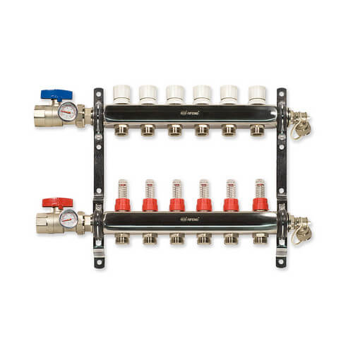 6-Loop Stainless Steel Radiant Heat Manifold Product Image