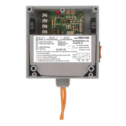 Enclosed .5/20A Amp Relay and Adjustable Current Switch Combination w/ Override Switch Product Image