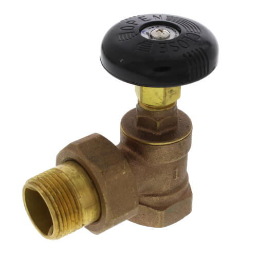 "1"" (FIP x Male Union) Hot Water Angle Radiator Valve Product Image"