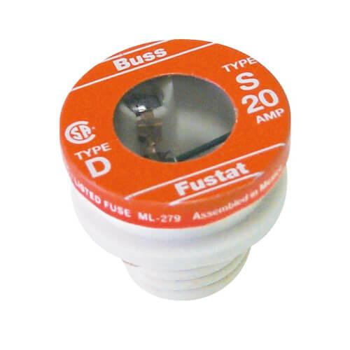 20 Amp Dual-Element Time-Delay Rejection Base Plug Fuse (125V) Product Image